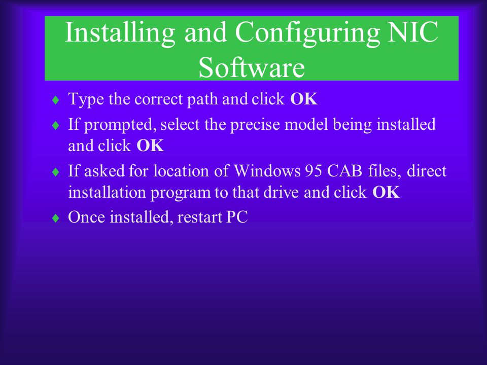 Installing and Configuring NIC Software