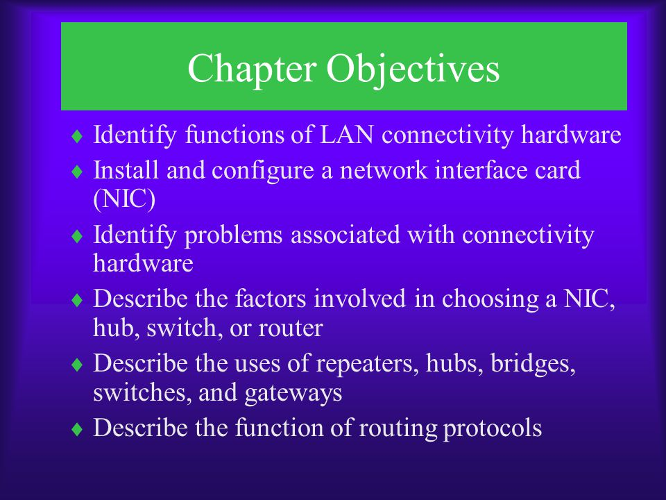 Chapter Objectives Identify functions of LAN connectivity hardware