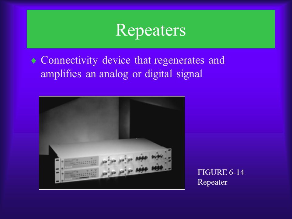 Repeaters Connectivity device that regenerates and amplifies an analog or digital signal.