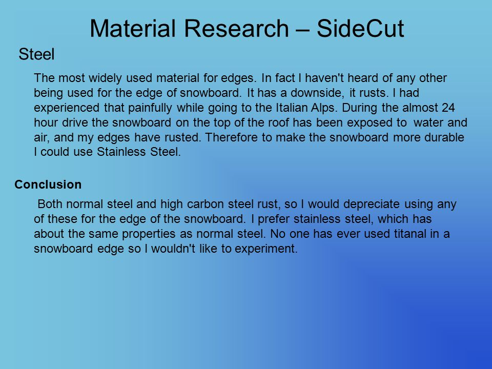 Material Research – SideCut