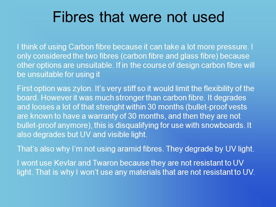 Fibres that were not used