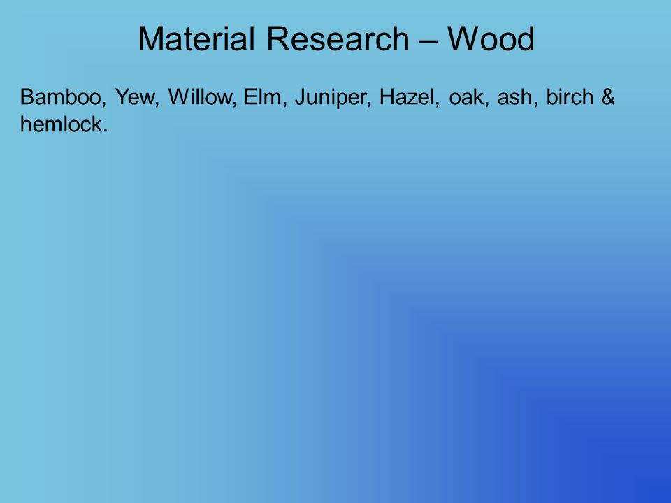 Material Research – Wood