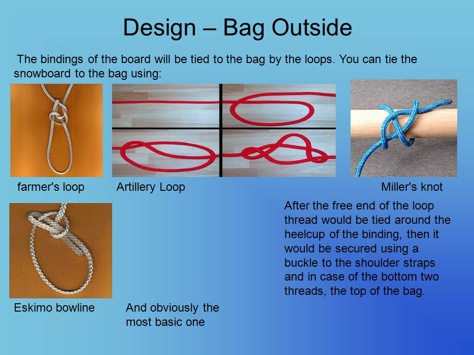 Design – Bag Outside The bindings of the board will be tied to the bag by the loops. You can tie the snowboard to the bag using: