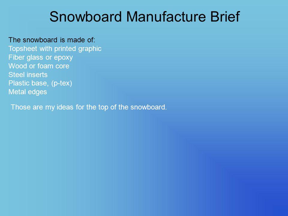 Snowboard Manufacture Brief