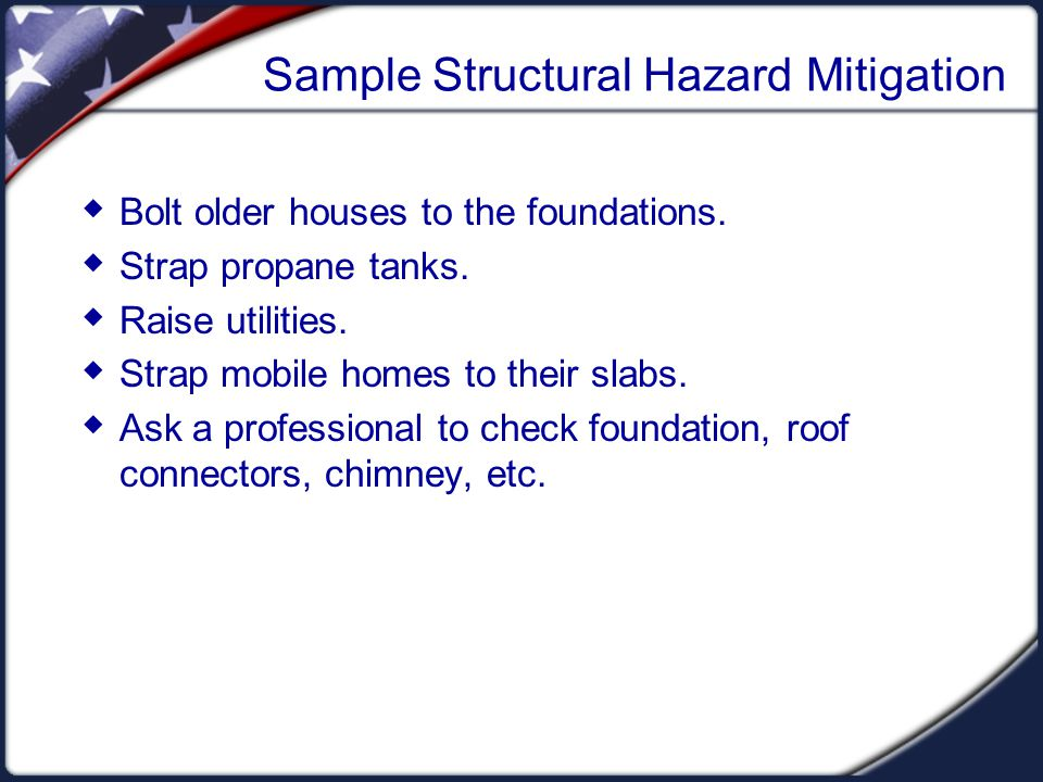 Sample Nonstructural Hazard Mitigation