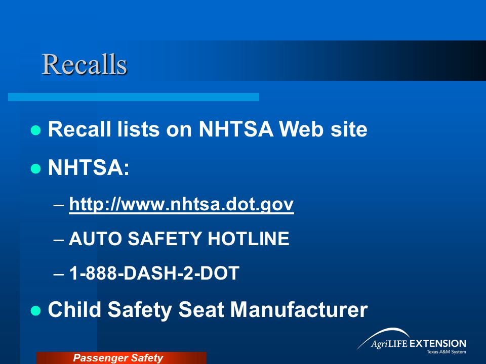 Recalls Recall lists on NHTSA Web site NHTSA: