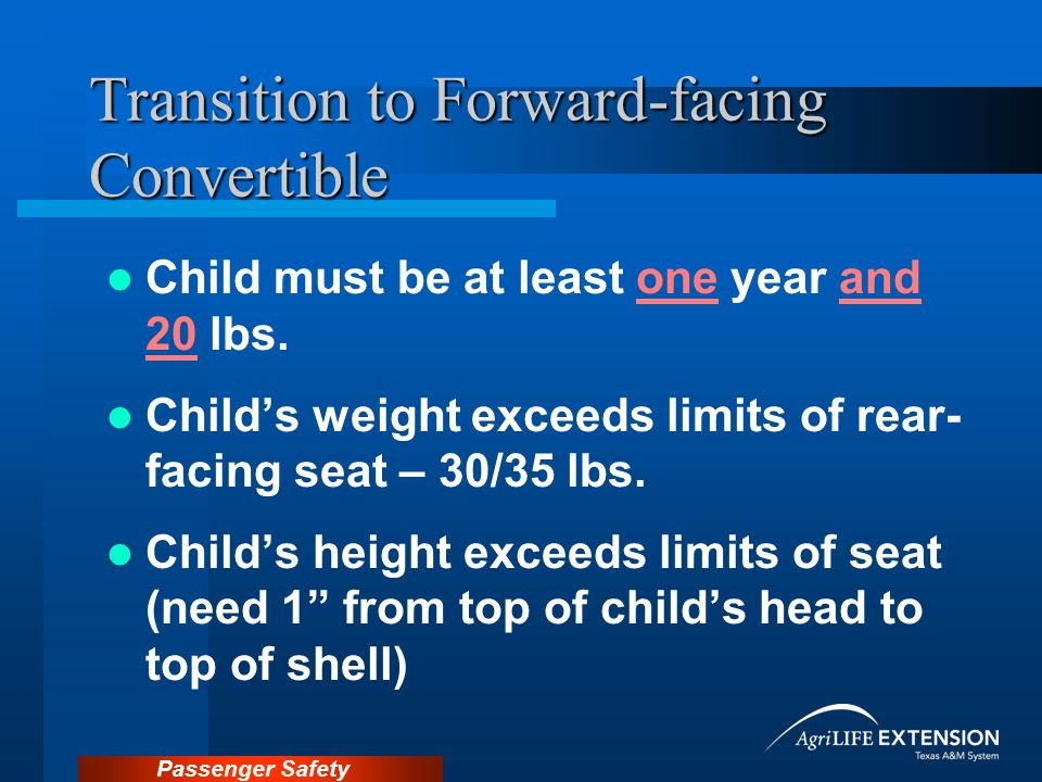 Transition to Forward-facing Convertible