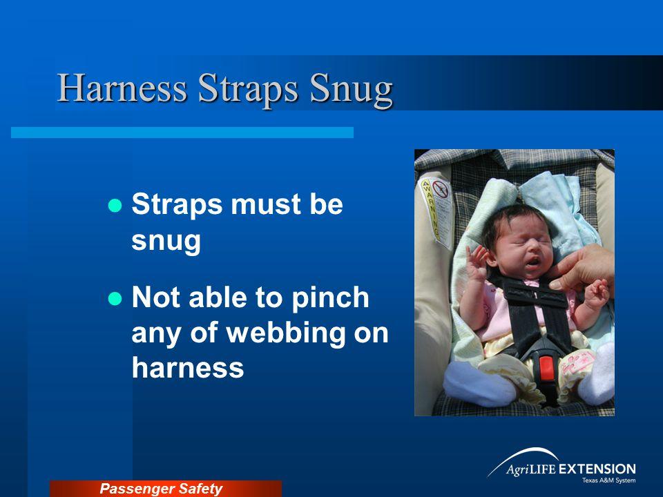 Harness Straps Snug Straps must be snug