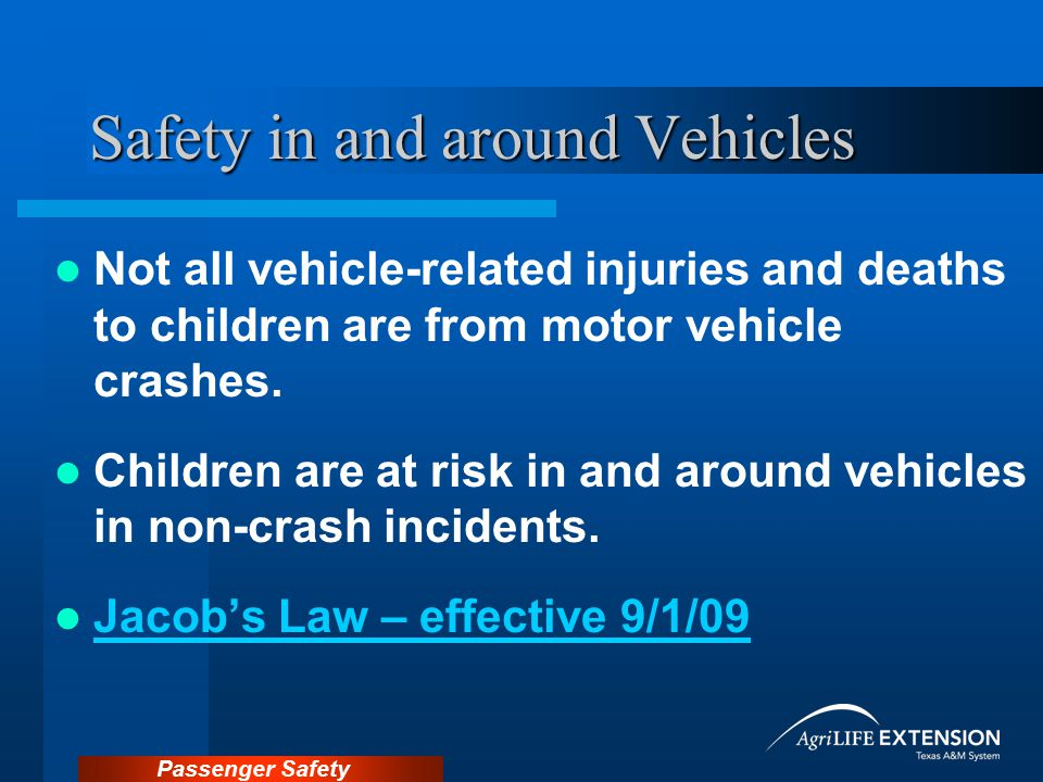 Safety in and around Vehicles