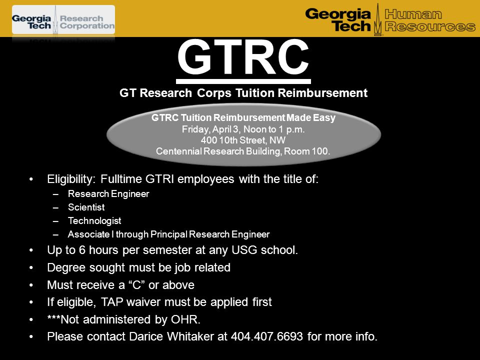 GTRC GT Research Corps Tuition Reimbursement