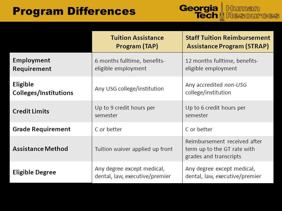 Program Differences Tuition Assistance Program (TAP)