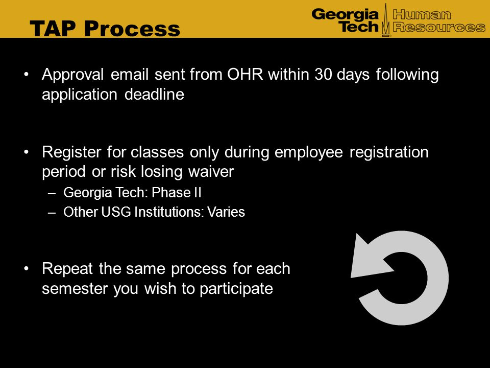 TAP Process Approval email sent from OHR within 30 days following application deadline.