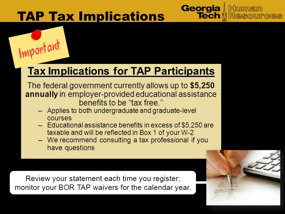 Tax Implications for TAP Participants