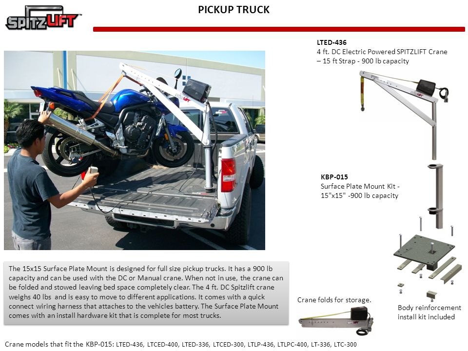 PICKUP TRUCK LTED-436. 4 ft. DC Electric Powered SPITZLIFT Crane – 15 ft Strap - 900 lb capacity. KBP-015.