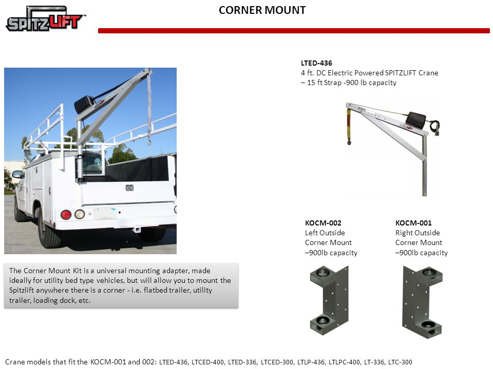 CORNER MOUNT LTED-436 4 ft. DC Electric Powered SPITZLIFT Crane
