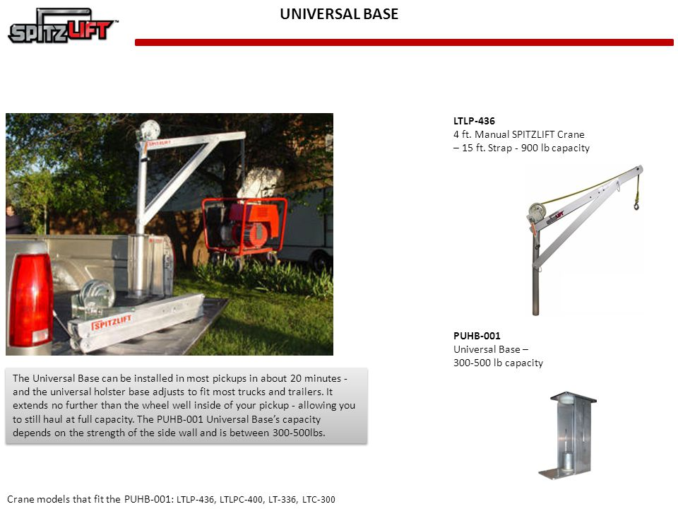 UNIVERSAL BASE LTLP-436 4 ft. Manual SPITZLIFT Crane