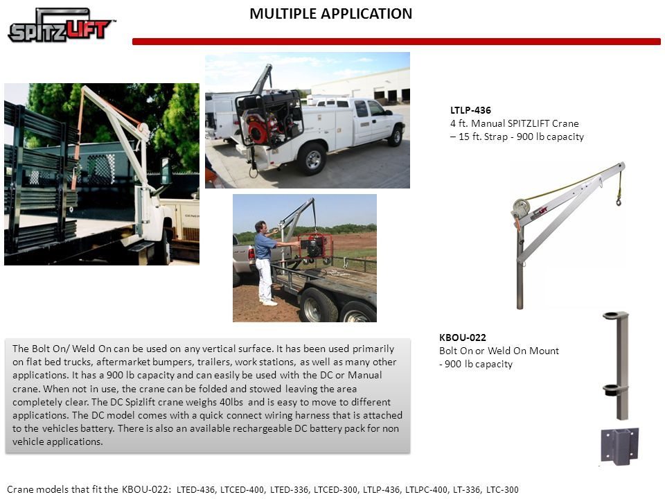 MULTIPLE APPLICATION LTLP-436 4 ft. Manual SPITZLIFT Crane