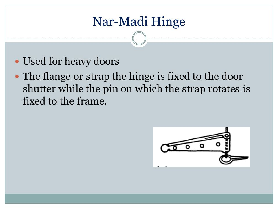 Nar-Madi Hinge Used for heavy doors