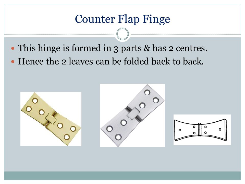 Counter Flap Finge This hinge is formed in 3 parts & has 2 centres.