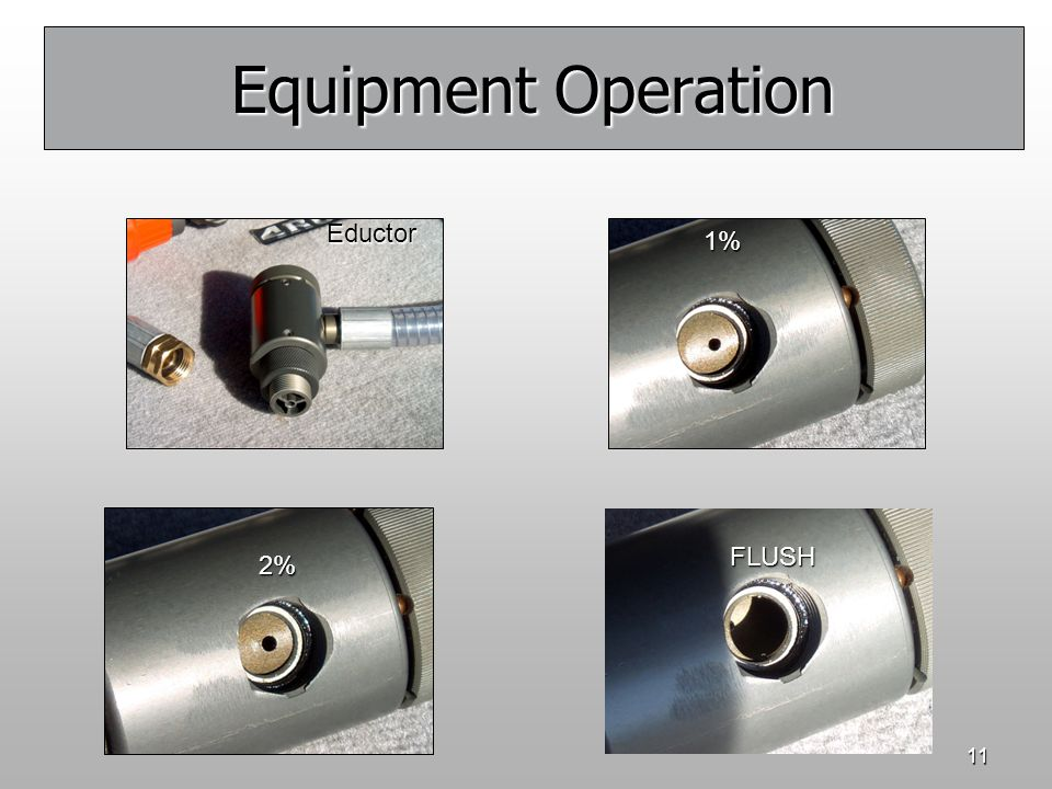 Equipment Operation Eductor 1% FLUSH 2%