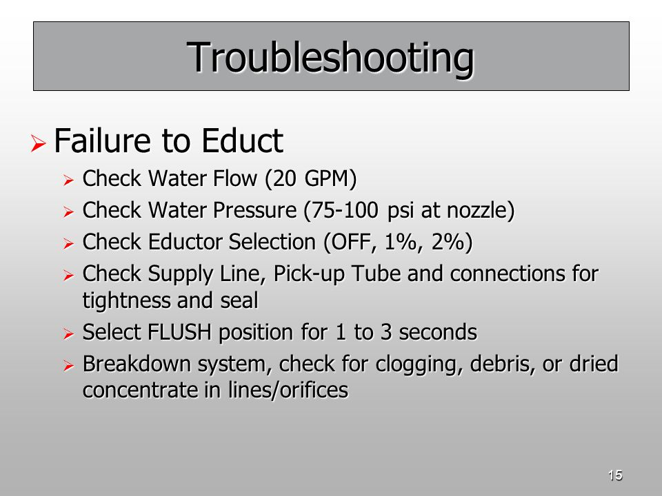 Troubleshooting Failure to Educt Check Water Flow (20 GPM)