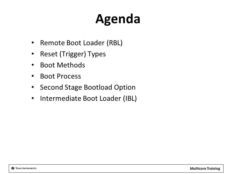 Agenda Remote Boot Loader (RBL) Reset (Trigger) Types Boot Methods
