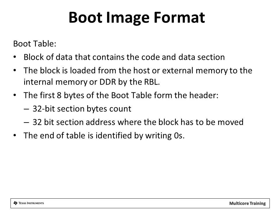 Boot Image Format Boot Table: