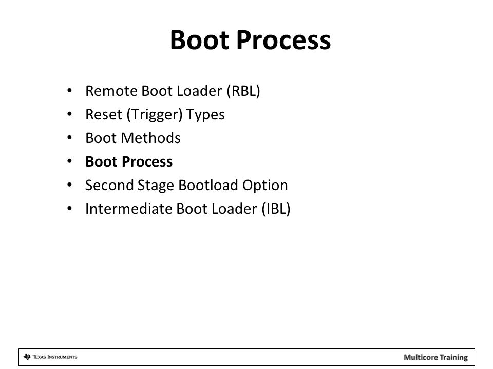 Boot Process Remote Boot Loader (RBL) Reset (Trigger) Types