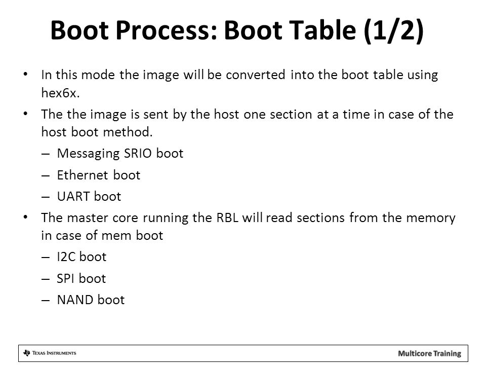 Boot Process: Boot Table (1/2)