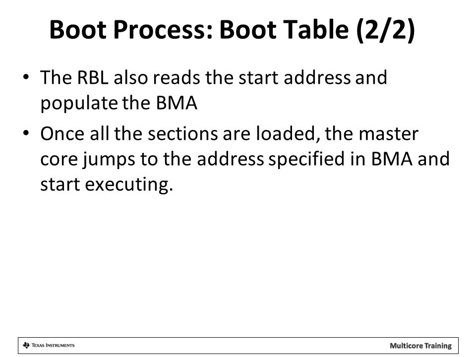 Boot Process: Boot Table (2/2)