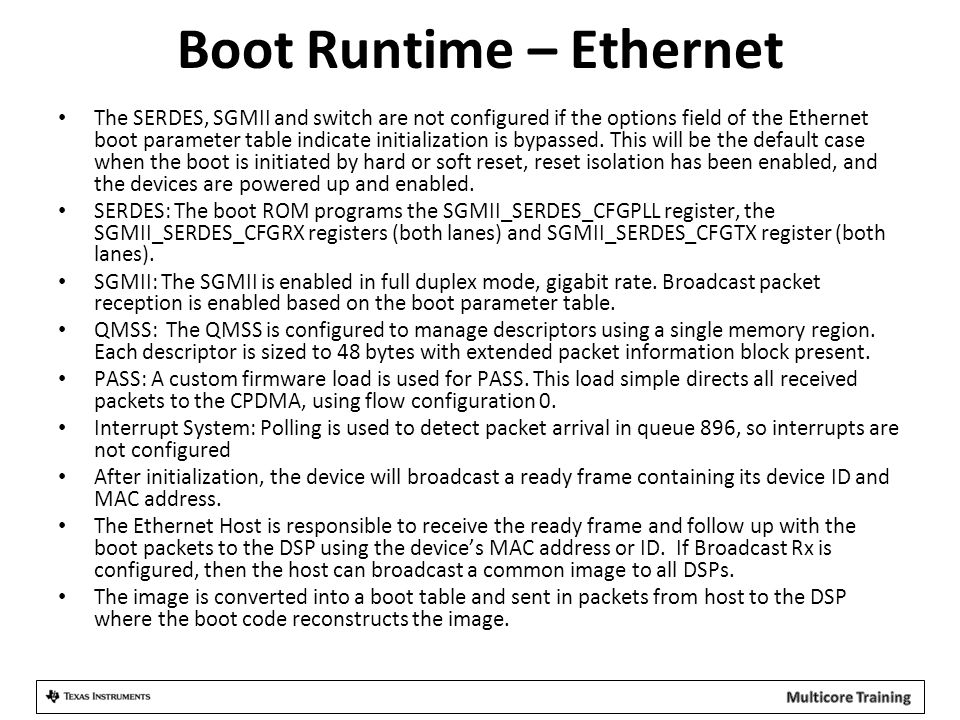 Boot Runtime – Ethernet