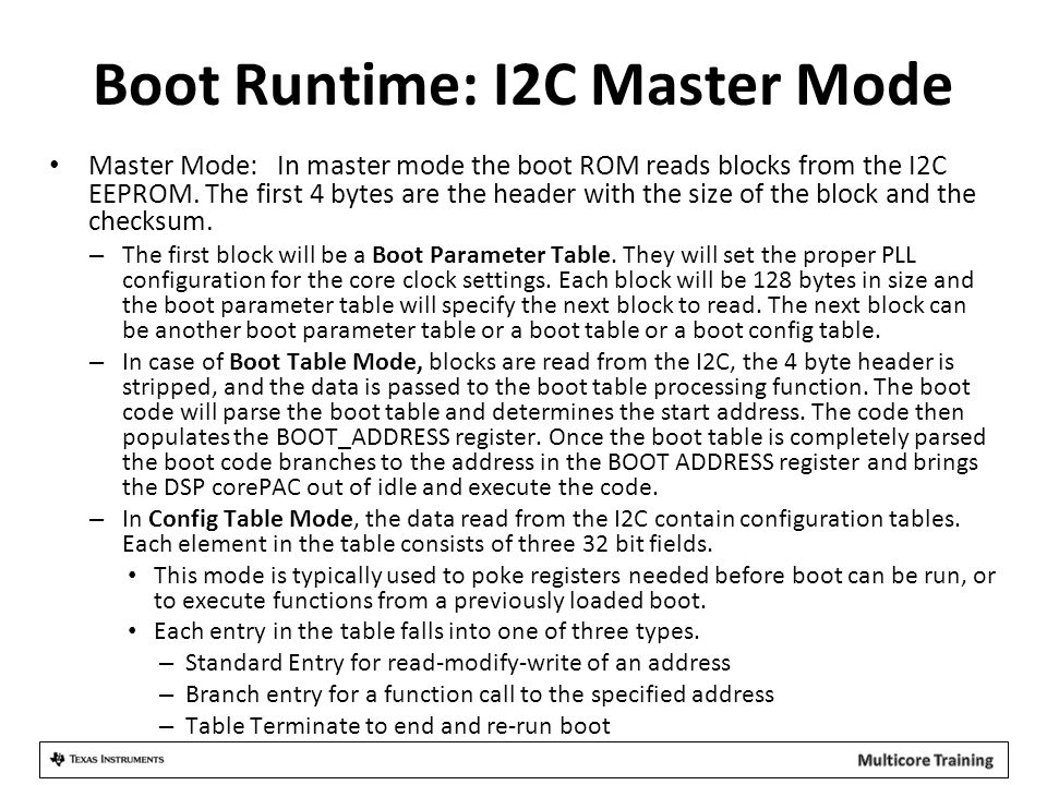 Boot Runtime: I2C Master Mode