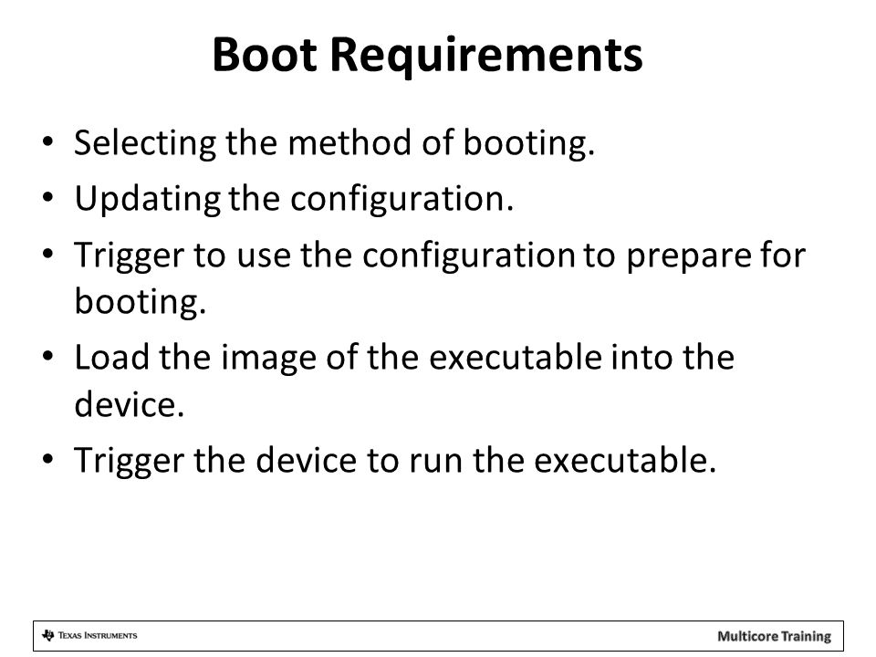 Boot Requirements Selecting the method of booting.