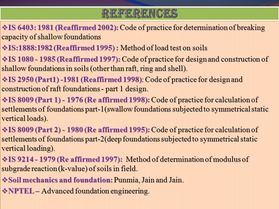 REFERENCES IS 6403: 1981 (Reaffirmed 2002): Code of practice for determination of breaking capacity of shallow foundations.