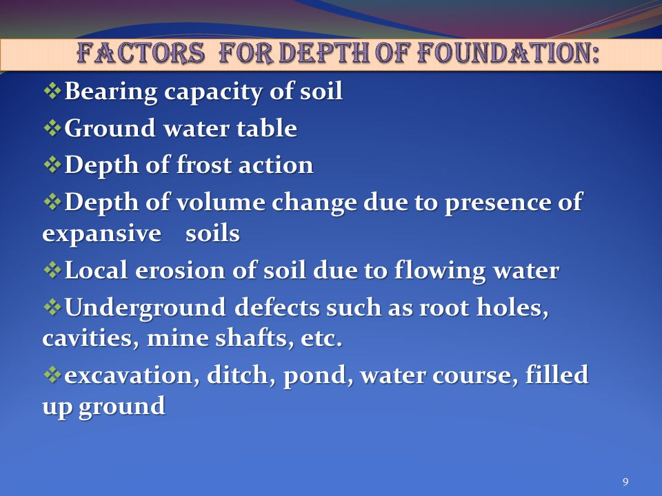 FACTORS FOR DEPTH OF FOUNDATION: