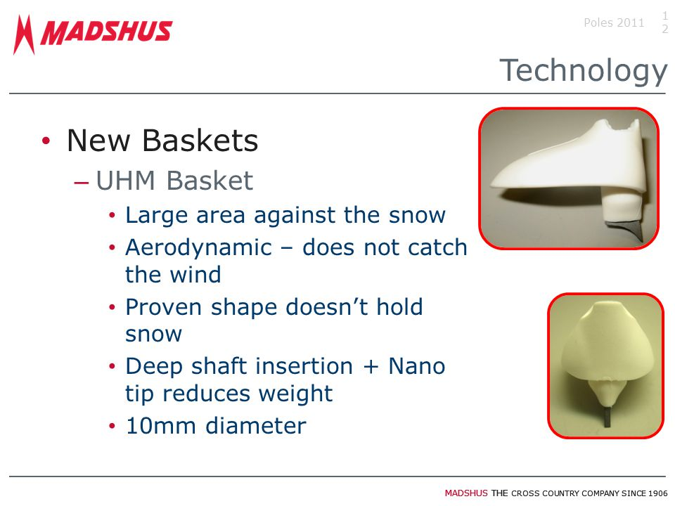 Technology New Baskets UHM Basket Large area against the snow