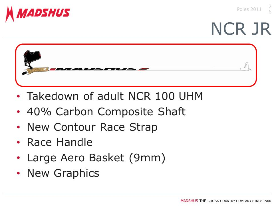 NCR JR Takedown of adult NCR 100 UHM 40% Carbon Composite Shaft