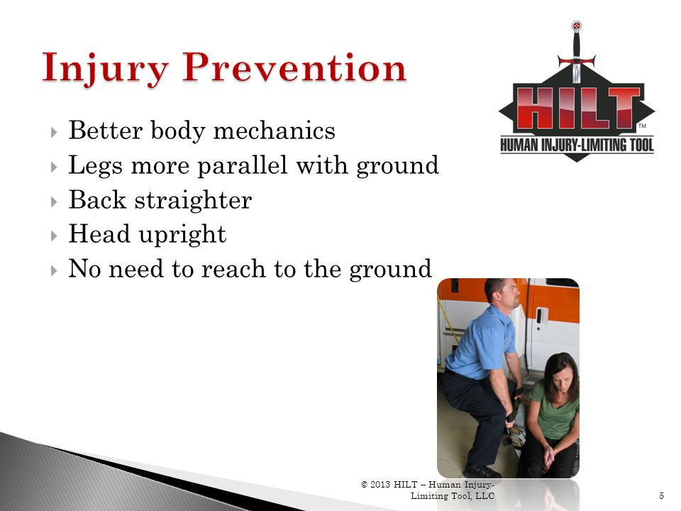 Injury Prevention Better body mechanics Legs more parallel with ground