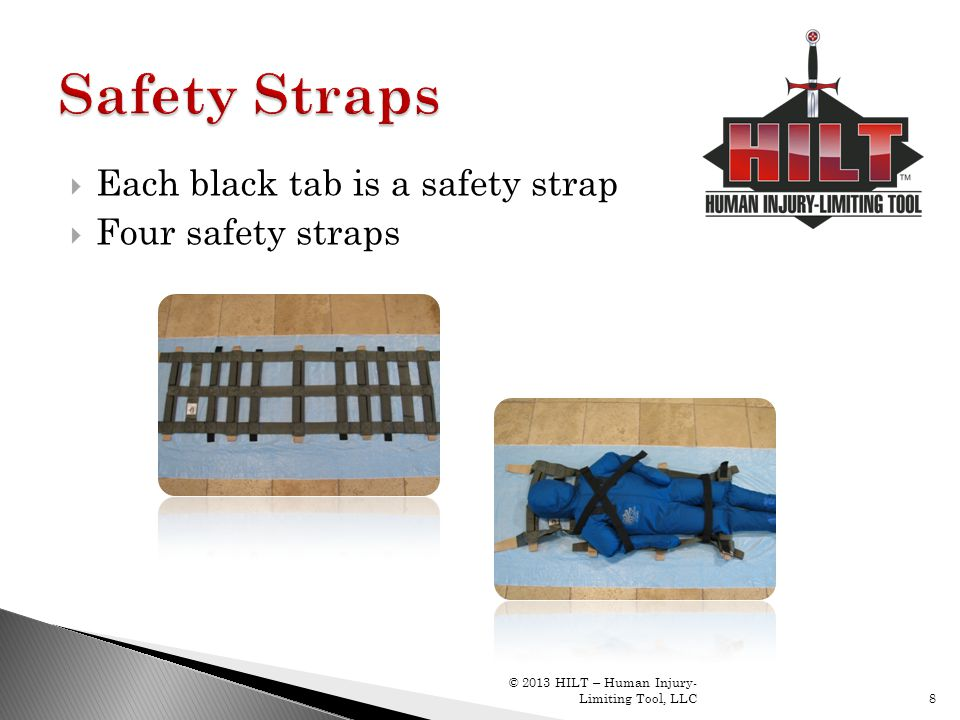 Safety Straps Each black tab is a safety strap Four safety straps
