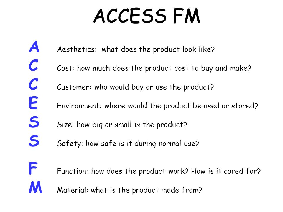 ACCESS FM A Aesthetics: what does the product look like