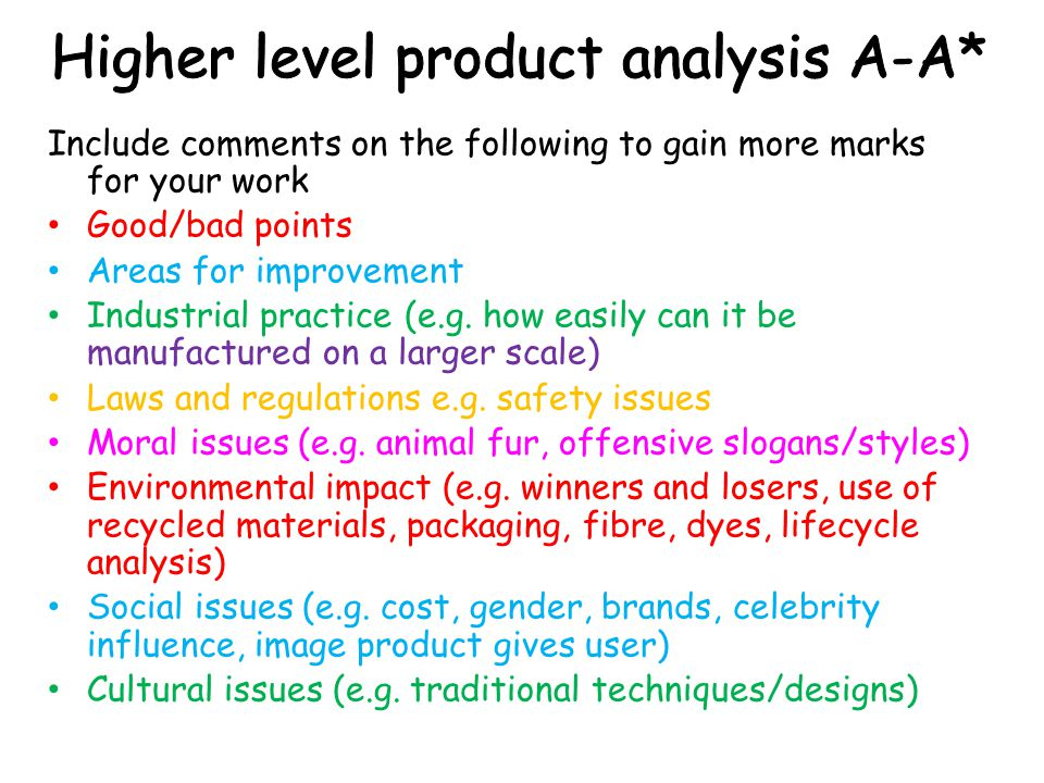 Higher level product analysis A-A*