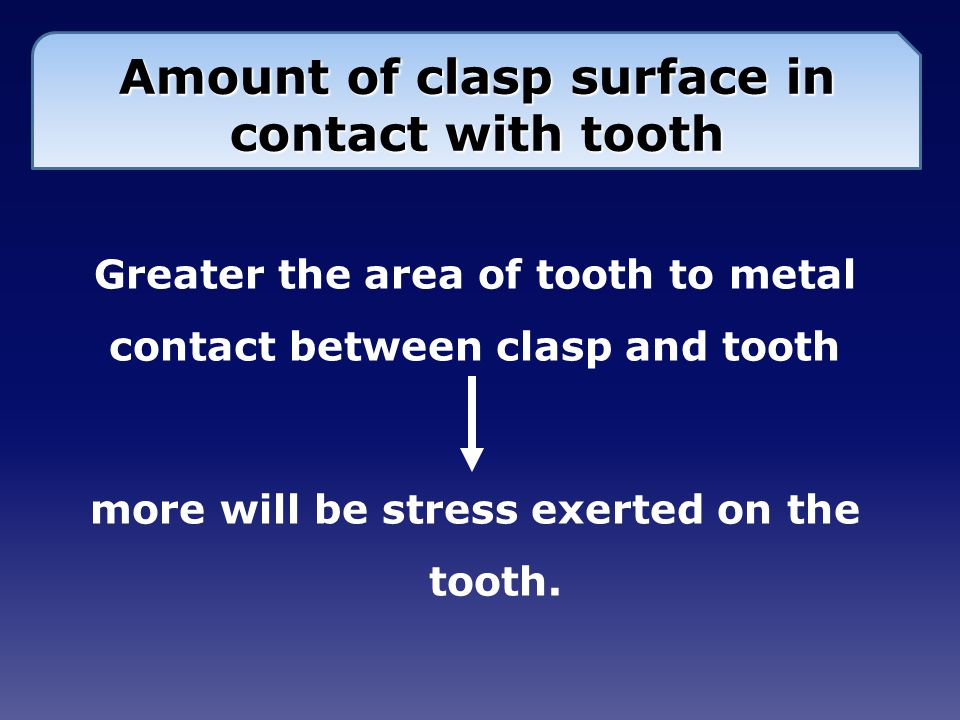 Amount of clasp surface in contact with tooth