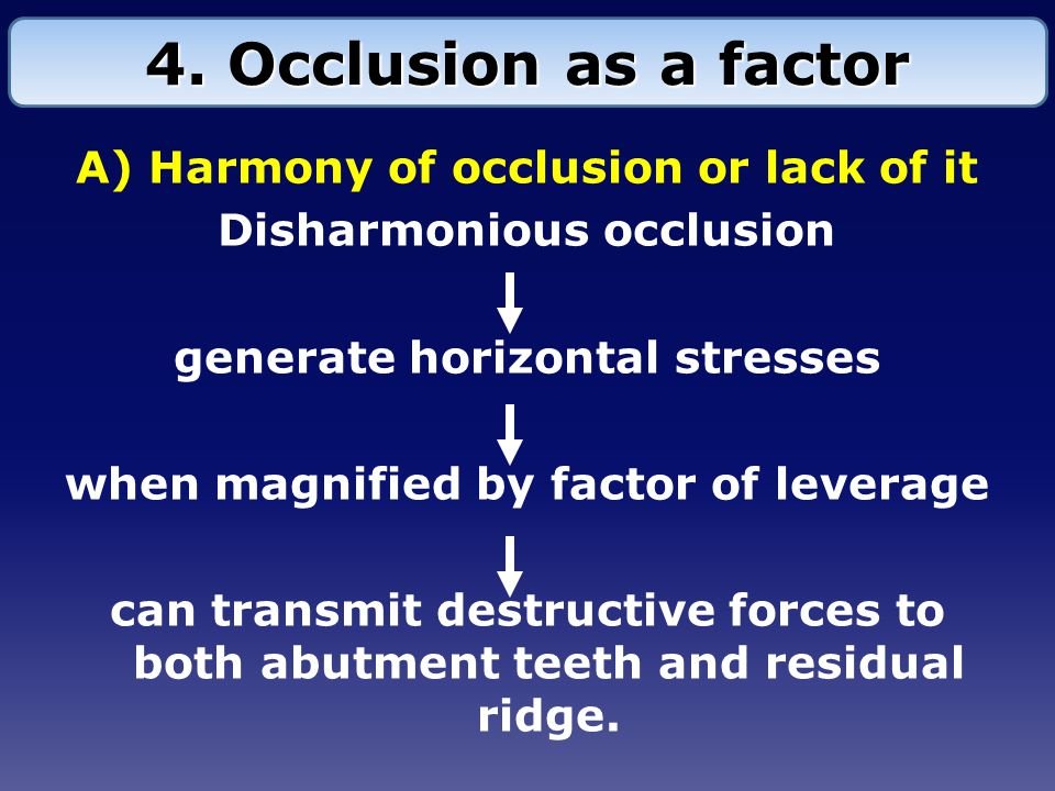 4. Occlusion as a factor A) Harmony of occlusion or lack of it