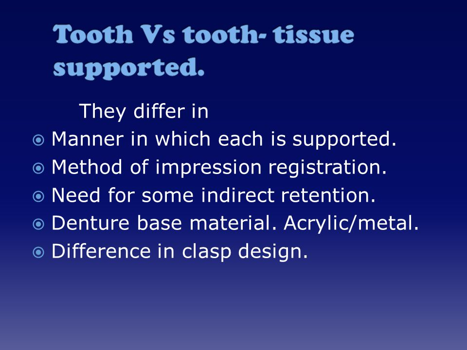 Tooth Vs tooth- tissue supported.