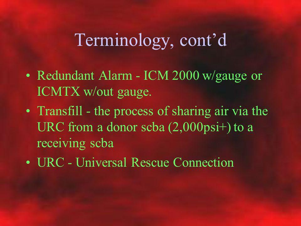 Terminology, cont'd Redundant Alarm - ICM 2000 w/gauge or ICMTX w/out gauge.