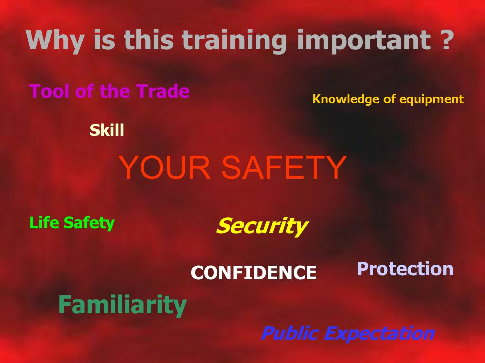 YOUR SAFETY Why is this training important Familiarity Security