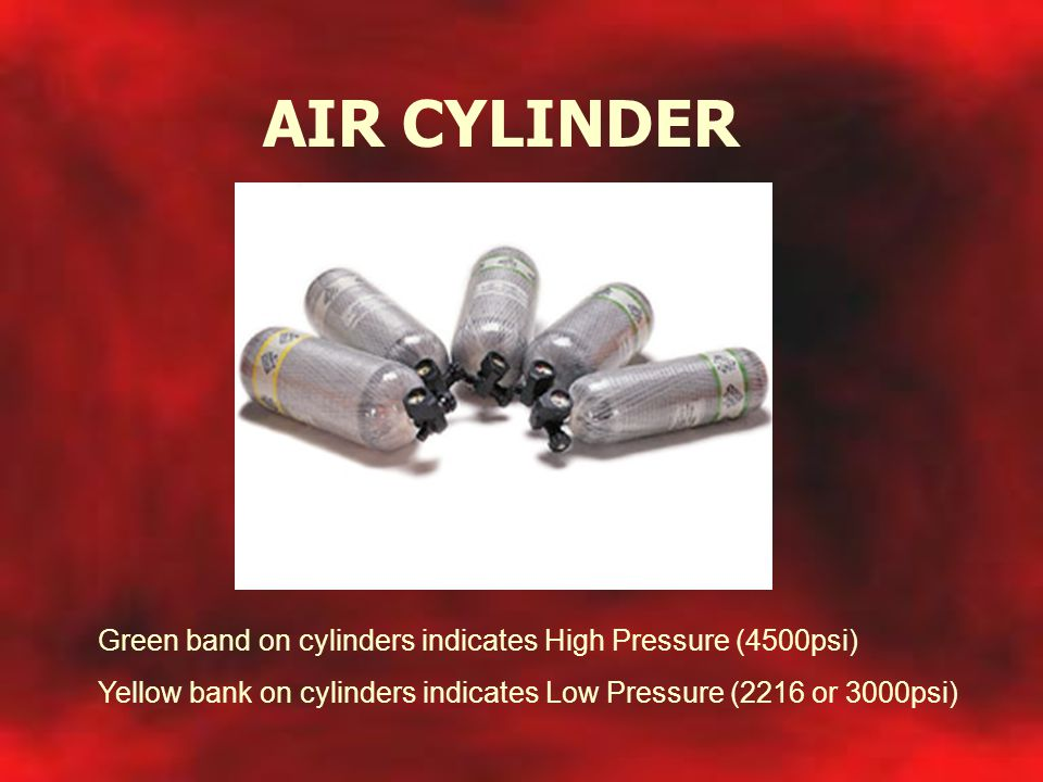 AIR CYLINDER Green band on cylinders indicates High Pressure (4500psi)