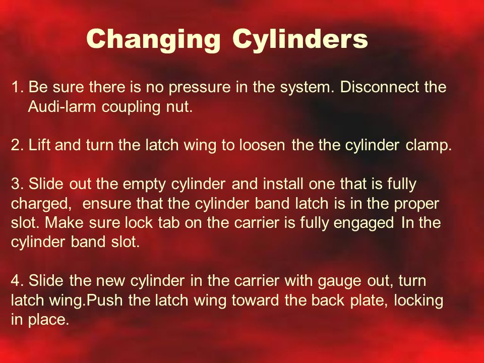 Changing Cylinders 1. Be sure there is no pressure in the system. Disconnect the. Audi-larm coupling nut.