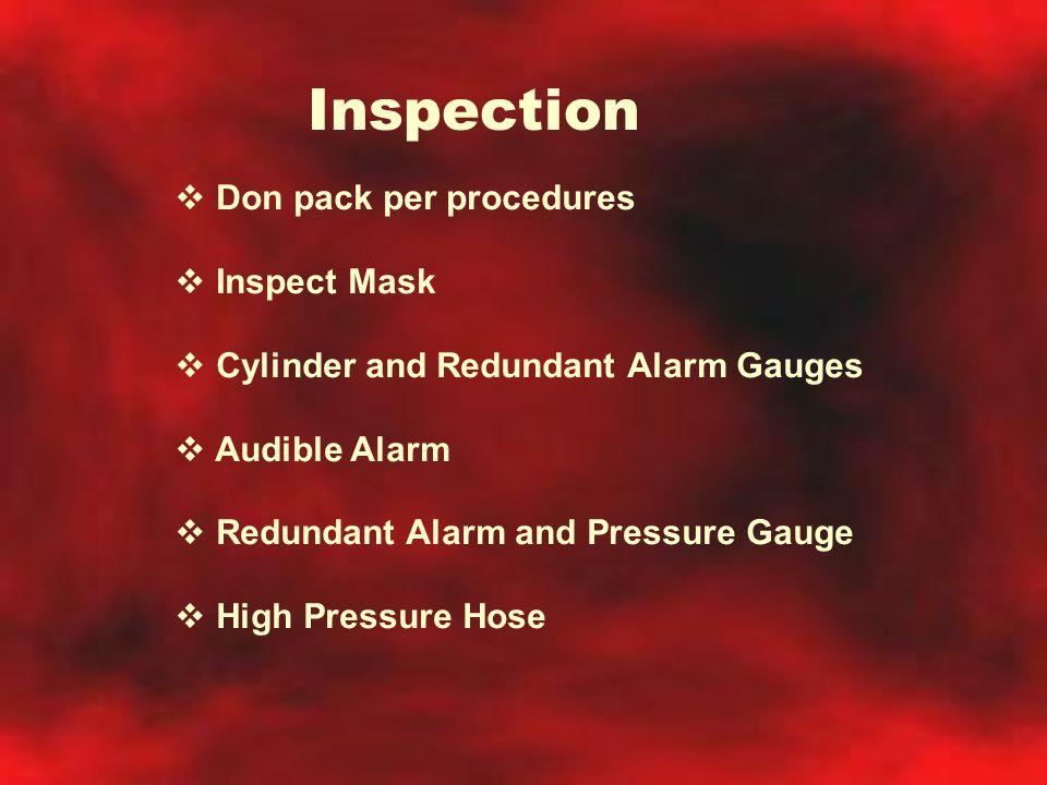 Inspection Don pack per procedures Inspect Mask
