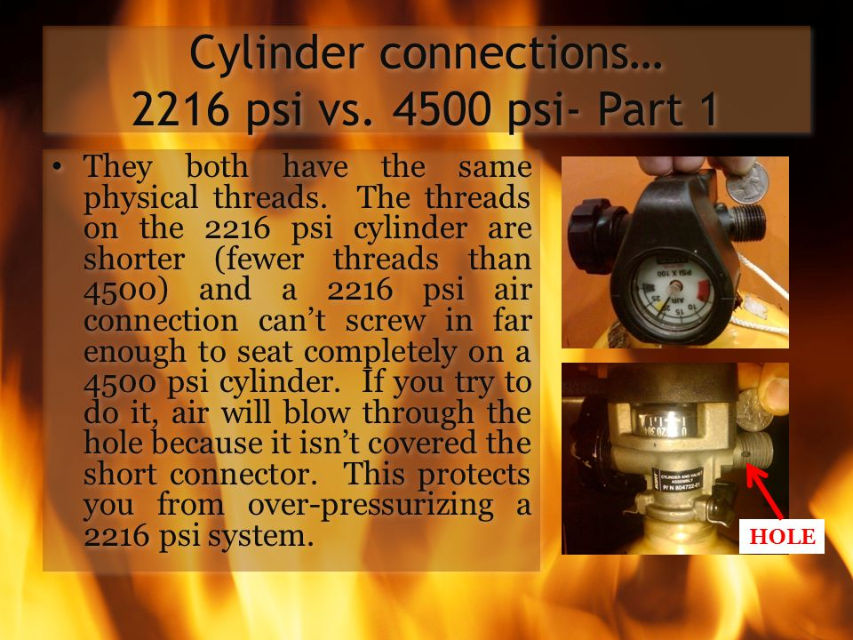 Cylinder connections… 2216 psi vs. 4500 psi- Part 1
